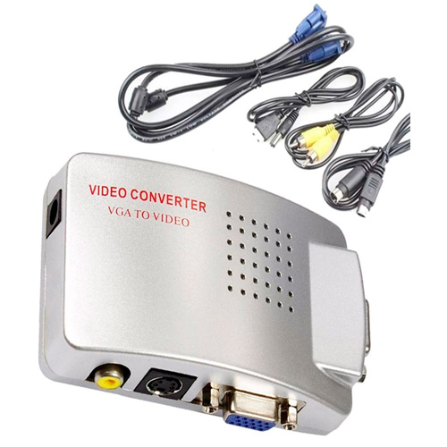 Adaptador Conversor PC-TV VGA para AV2-RCA Branco