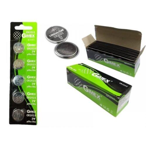 Bateria Botão de lìtio CR-2025 3V – Cartela Com 5 Unid. – Gimex